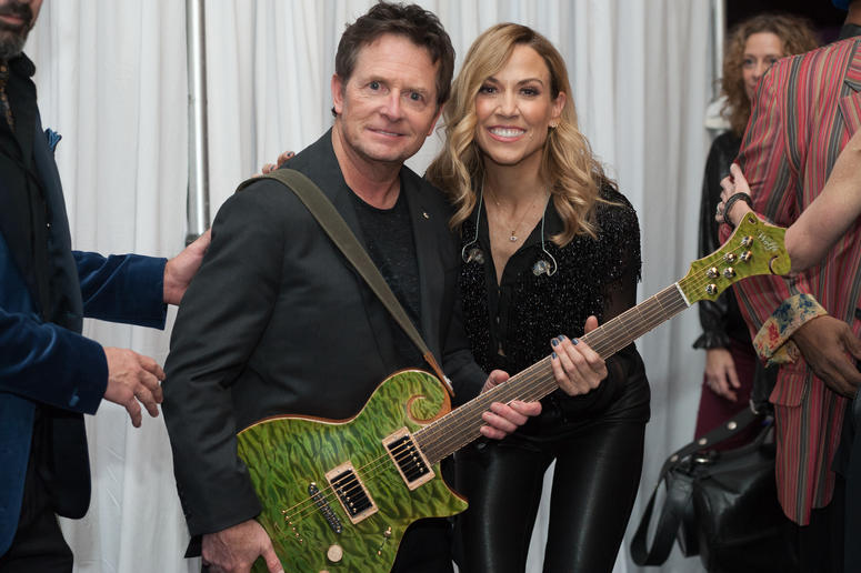 Michael J. Fox and Sheryl Crow Backstage at Funny Thing 2019 Gala.