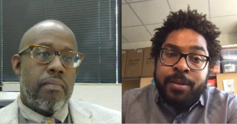 Michael S. Fitts (left) and Jonathan Jackson (right) during their virtual meeting.