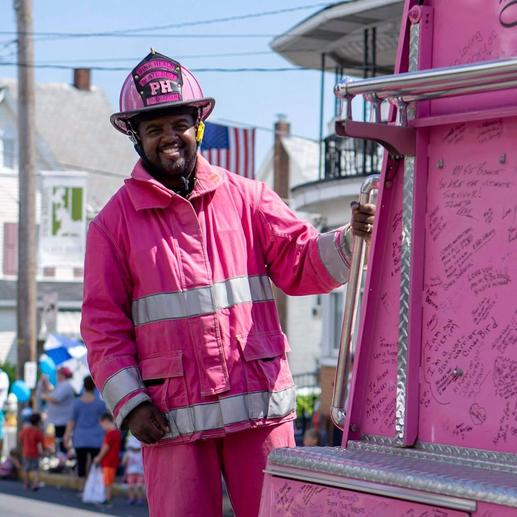 Eric supporting pink gear in honor of Pink Heals, a nonprofit group of fire fighters, police officers and volunteers that support women and their families battling all types of cancers.