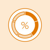 Illustrated progress indicator by percentage.