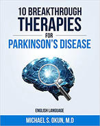 "Book cover of ""10 Breakthrough Therapies for Parkinson's Disease"" with graphic of magnifying glass over brain."