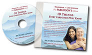 "Compact disc cover for ""10 Things Every Person with Parkinson's Must Know"" with two females smiling."