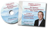 "Cover for CD titled ""10 Things Every Person with Parkinson's Must Know"" Caucasian male smiling in front of mountains."