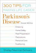 "Book cover for the second edition of ""Parkinson's Disease: 300 Tips for Making Life Easier."""