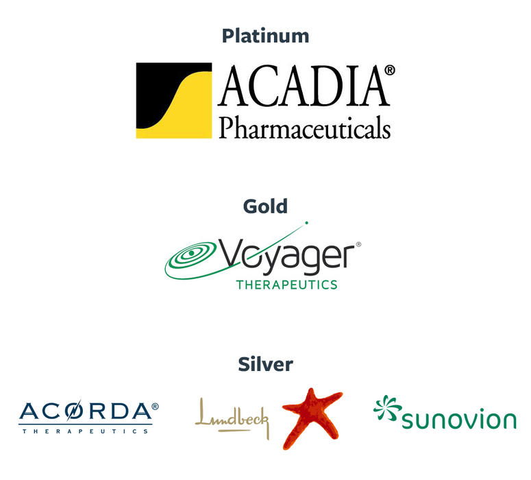 Logos for Acadia, Voyager, Acorda, Lundbeck and Sunovion.