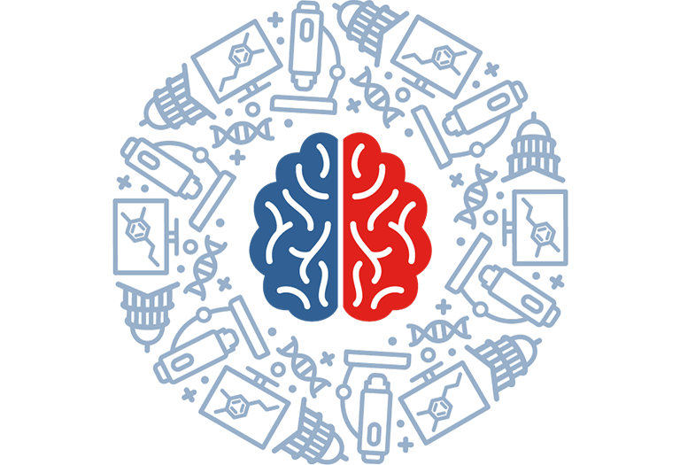 Illustrated brain surrounded by a pattern of science and governmental icons.