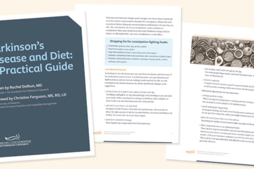 "Cover and inside pages of the ""Parkinson's Disease and Diet: A Practical Guide."""
