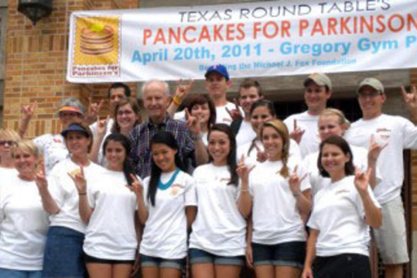 UT Austin Students Honor Longtime Faculty Member at 2nd Annual Longhorn Pancakes for Parkinson's Event