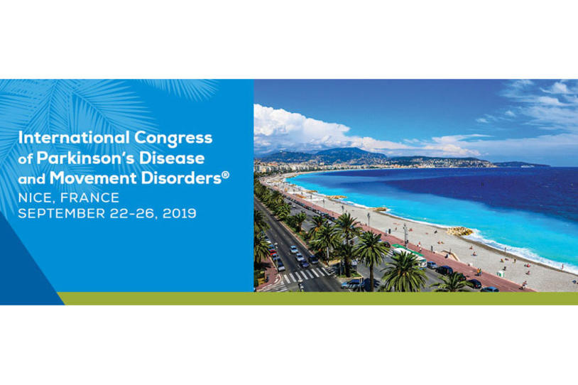 Banner for the 2019 International Congress of Parkinson's Disease and Movement Disorders.
