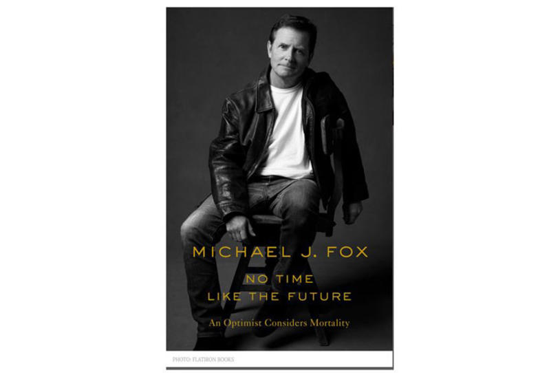 "Cover of Michael J. Fox's book titled ""No Time like the Future."""