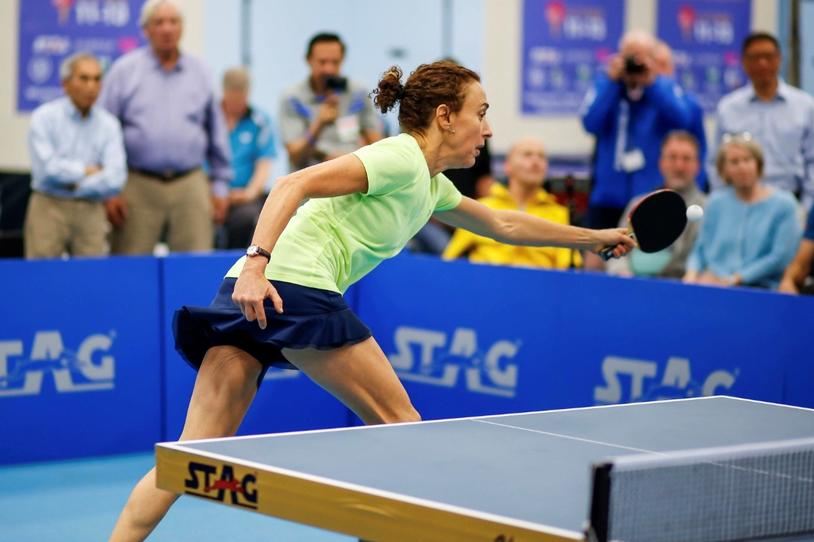 Margie Alley competes at the ITTF World Parkinson's Table Tennis Championships