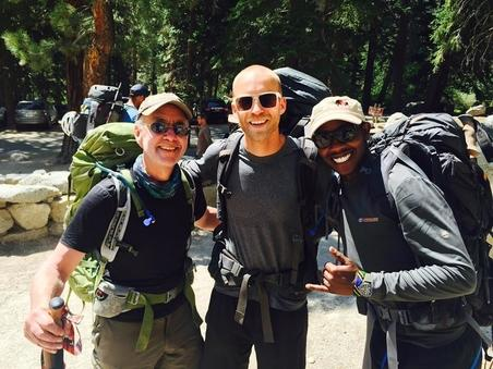 Three male hikers getting ready to climb Mt. Whitney for Team Fox.
