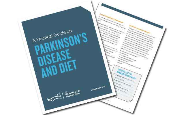 "Cover of and page from MJFF's ""A Practical Guide on Parkinson's Disease and Diet."""