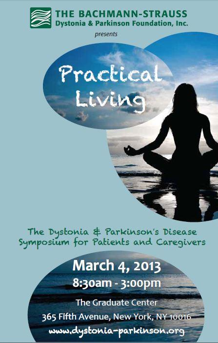 Poster for a symposium on practical living with Parkinson's.